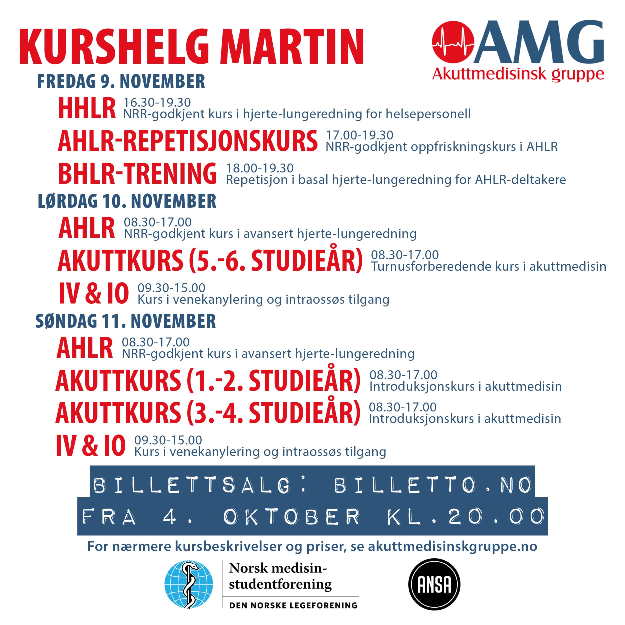 Kurshelg i Martin, 9.-11. november 2018